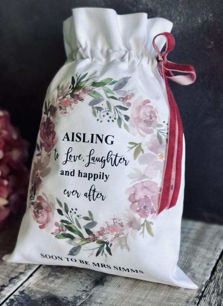 Personalised Linen Drawstring Bag 2