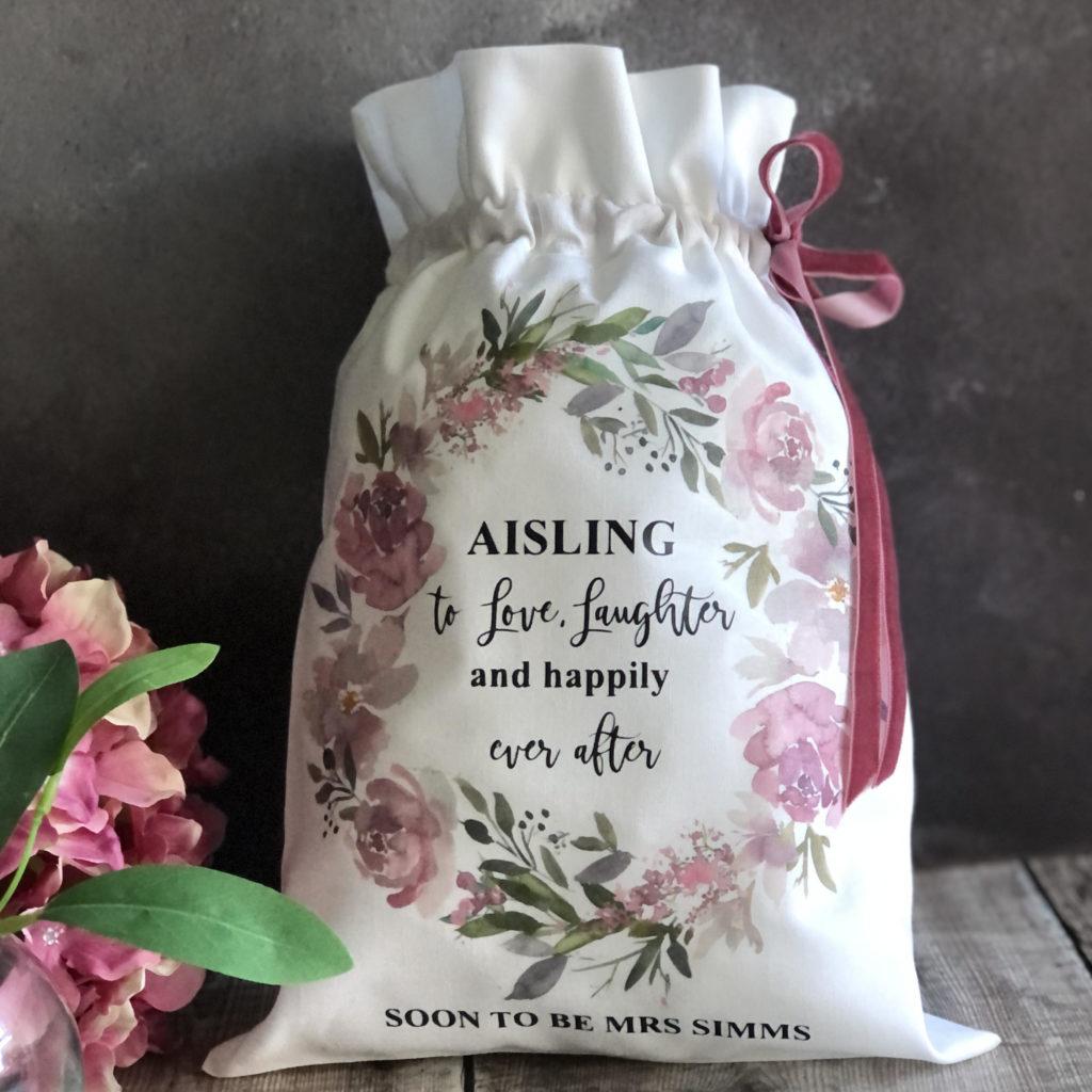 Personalised Linen Drawstring Bag 3