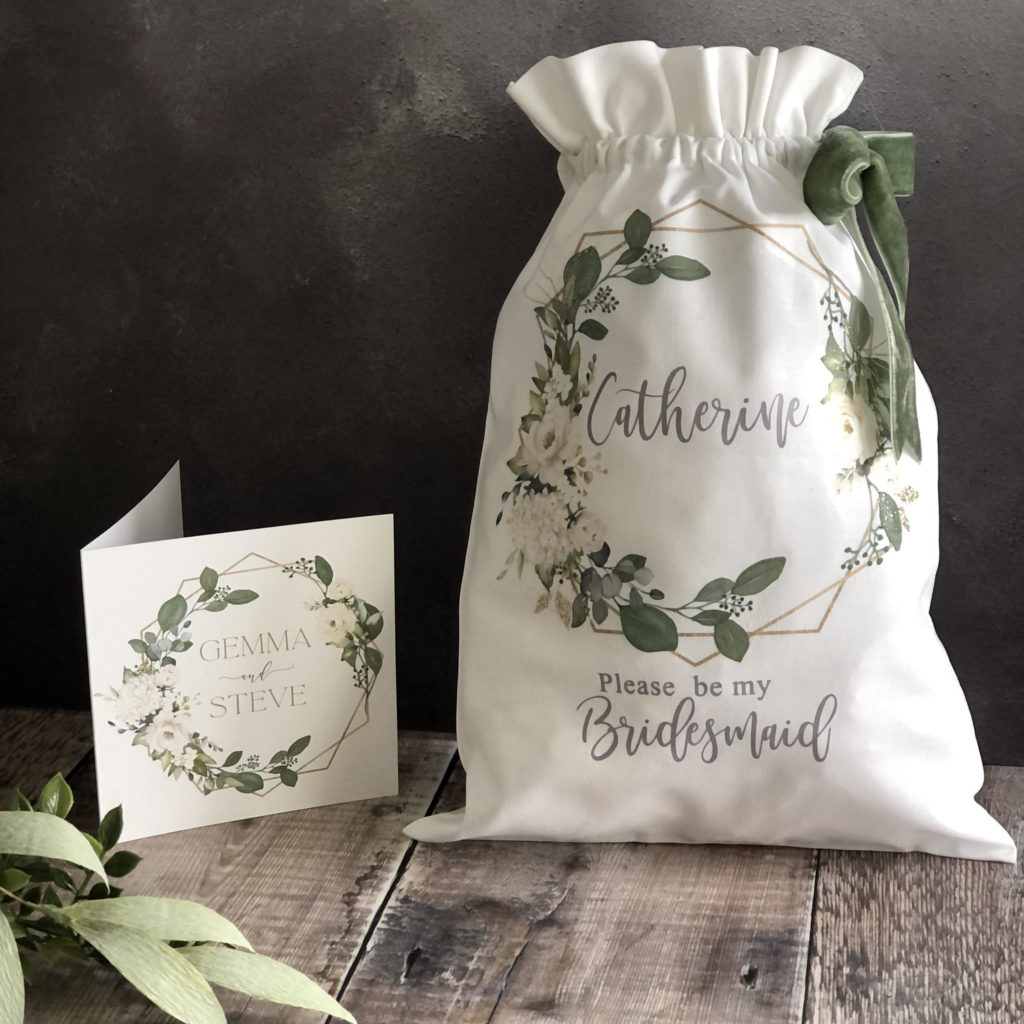 Personalised Linen Drawstring Bag 4