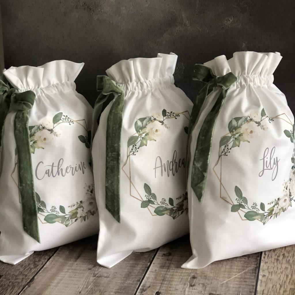 Personalised Linen Drawstring Bag 1