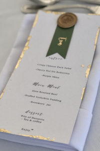 Menu with Wax Seal and Gold leaf