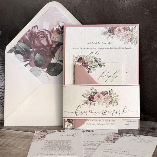Vermilion Bouquet Wedding Invitation